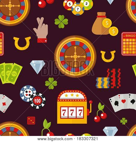 Casino game icons poker gambler symbols and blackjack cards money winning with roulette gambler joker slot machine concept vector illustration. Fortune roulette seamless pattern