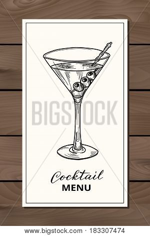 Hand drawn martini cocktail, vector illustration. Alcoholic cocktails menu template