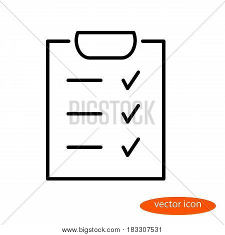 A simple vector linear image of the checklist a flat line icon for the web site.