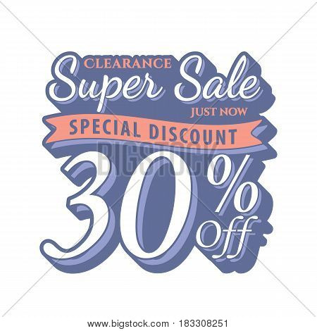 Vol. 2 Super Sale 30 Percent Heading Design Vintage Style  For Banner Or Poster. Sale And Discounts