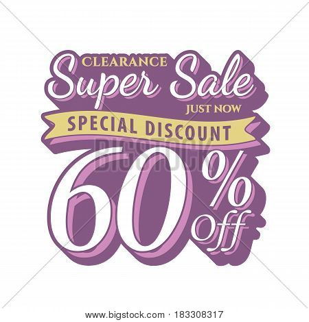 Vol. 2 Super Sale 60 Percent Heading Design Vintage Style  For Banner Or Poster. Sale And Discounts