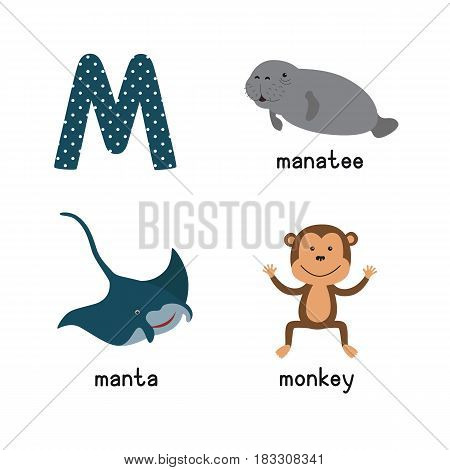 Cute zoo alphabet in vector.M letter. Funny cartoon animals: manatee, manta, monkey. Alphabet design in a colorful style. vector illustration for children