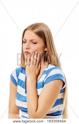 Woman has a toothache isolated on white background, pain concept