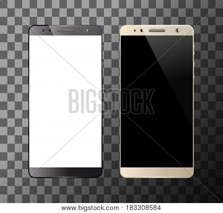 Black and white smartphones isolated on transparent background. Mobile smart phone with blank screen. Cell phone mockup design. Vector illustration.