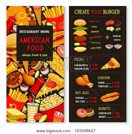 Fast food restaurant vector menu template. Price for fastfood burgers and hot dogs, frech fries and chicken nuggets or wings hamburger or cheeseburger sandwiches, combo meals and ice cream desserts