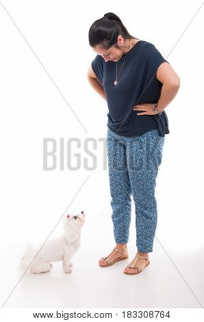 Full Body Of Attractive Female With Her Dog