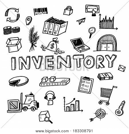 Hand Draw Inventory Business Doodles Icon Set For Global Transportation Import,export And Logistic B