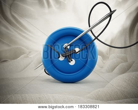 Sewing needle string and red button on white cloth. 3D illustration.