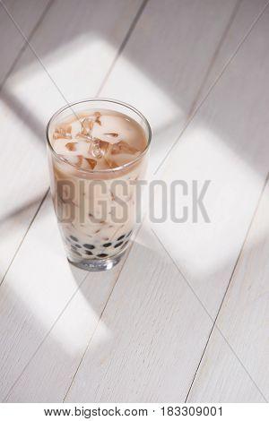 Boba / Bubble Tea. Homemade Taro Milk Tea With Pearls On Wooden Table.
