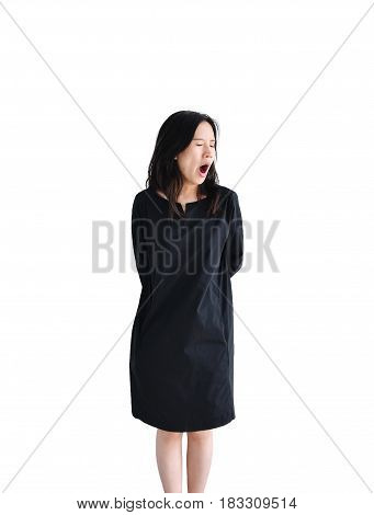 Asian business woman yawning isolated on white background clipping path inside