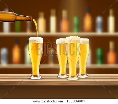 Four glasses with fresh lager beer on bar counter realistic vector illustration