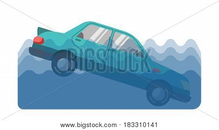 Vector illustration of a car fallen into the water on the white background.