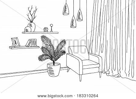Living room interior graphic black white sketch illustration vector