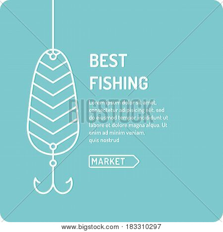 Modern vector illustration of the best fishing in linear style on a blue background with spoon. Suitable as a banner poster or template for your blog or online store