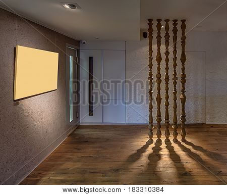 Hall with luminous lamps in the modern cafe with textured walls and a parquet on the floor. There are decorative wooden poles which drop shadows onto the floor. Horizontal.