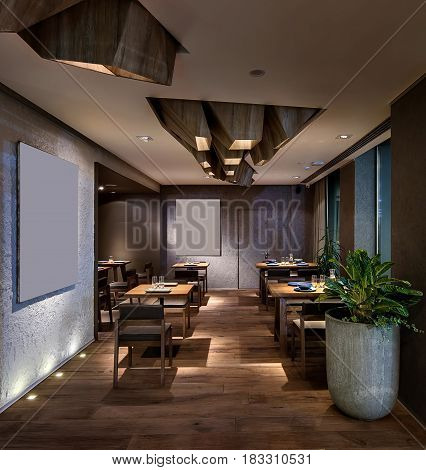 Luminous modern cafe with textured walls and a parquet. There are wooden tables with glasses and plates, chairs, plant in a big concrete pot. On the ceiling there are wooden geometric constructions.