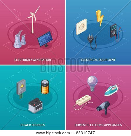 Electricity concept icons set with electrical equipment symbols isometric isolated vector illustration
