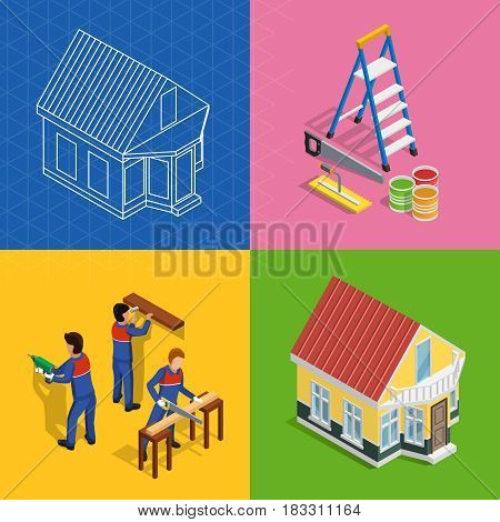 Renovation isometric concept icons set with home redecoration symbols isolated vector illustration