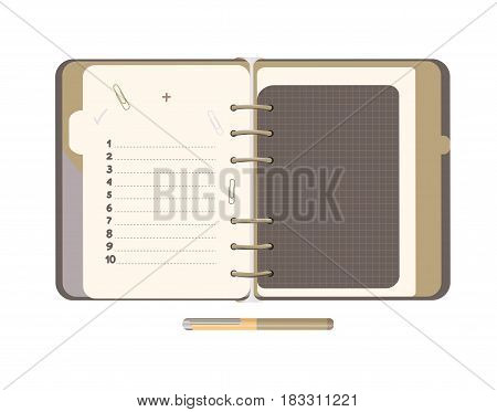 Diary with  blank list. Isolated illustration. Vector EPS 10.  Concept designer brown notepad.