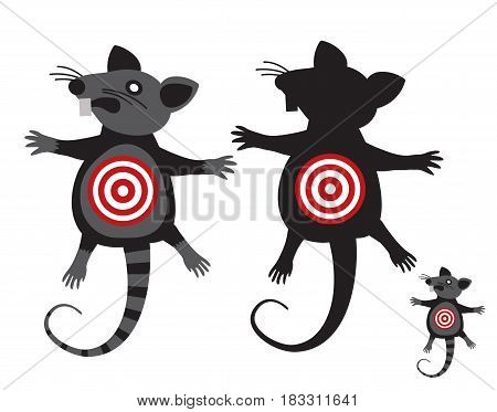 Rat goal. Concept Anti rodent symbol. illustration signs isolated on a white background.