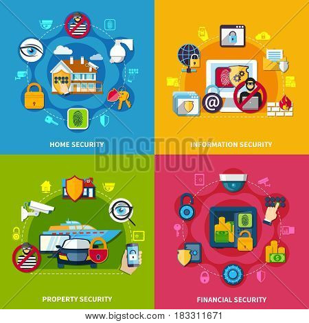 Security concept icons set with financial and home security symbols flat isolated vector illustration