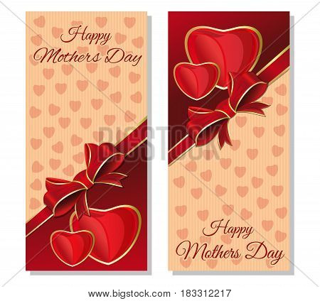 Happy Mothers Day. Greeting cards set. Festive red and beige background with design elements for Mothers Day. Vector flyer template