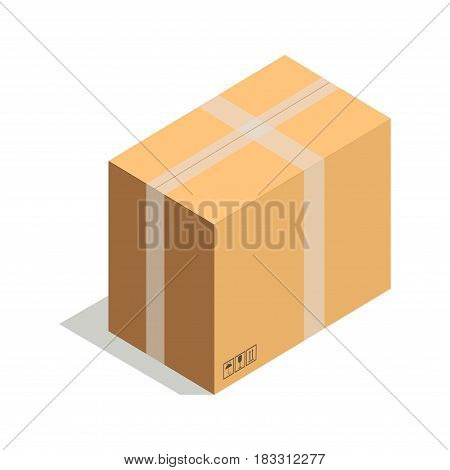 Isometric view of closed cardboard package on white background.