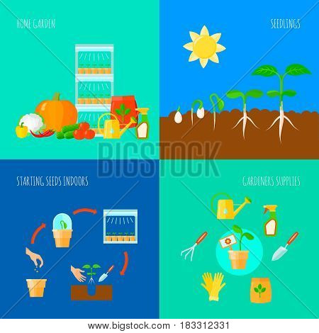 Seedling concept icons set with home garden  symbols flat isolated vector illustration