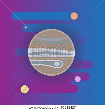Jupiter icon illustration, planet in space, flat style