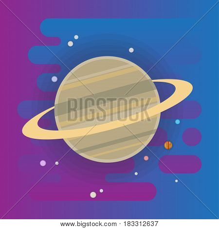 Saturn icon illustration, planet in space, flat style