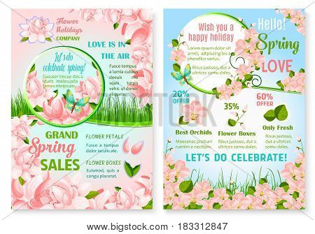 Spring flowers sale vector poster for discount promo offer on springtime holiday floral bouquets and bunches. Design of blooming pink orchids blossoms on green flourish grass fields