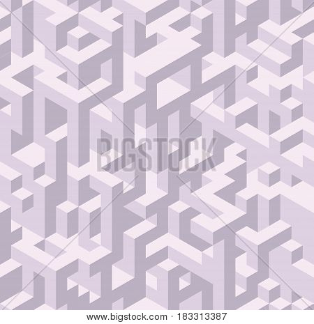 Vector seamless isometric pattern, 3d cubes abstract background, fantastic city geometry