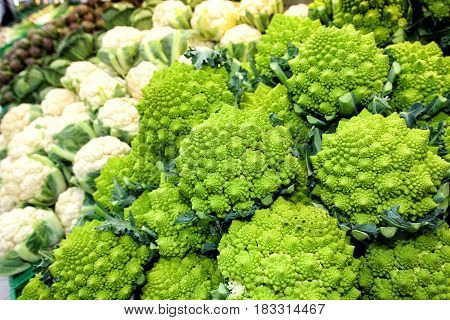 Cauliflower vegetables. Broccoli romanesco and artichokes. Vegetables. Some cauliflower, broccoli romanesco (a kind of cauliflower) and artchokes in the distance. Focus on the cauliflowers. Full image