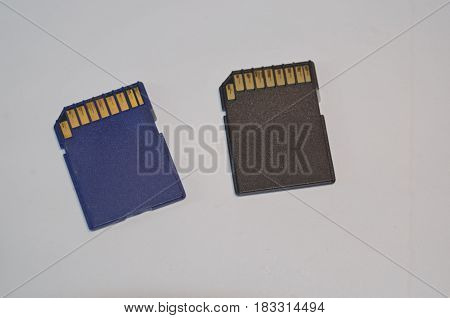 SD Electronic Memory cards, blue and black.