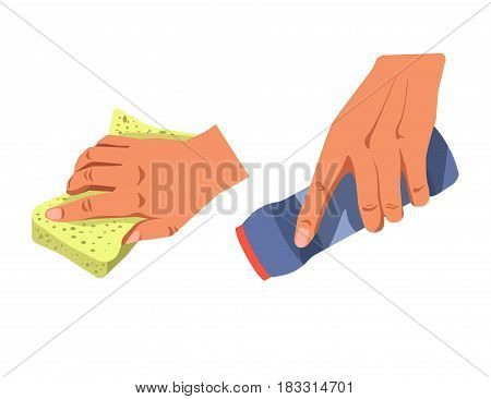 Vector illustration of hands with sponge and chemistry cleaning jar.