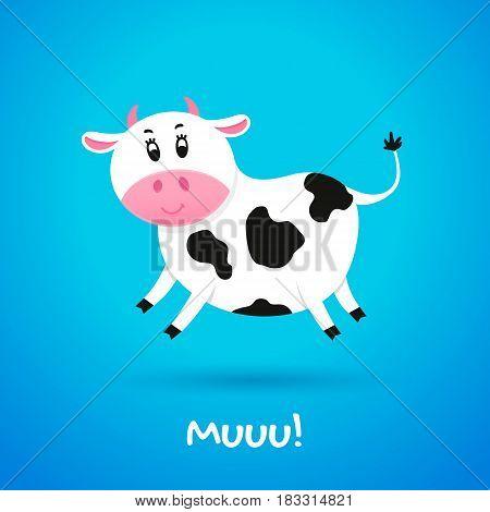 Cartoon character cheerful little cow. Vector illustration