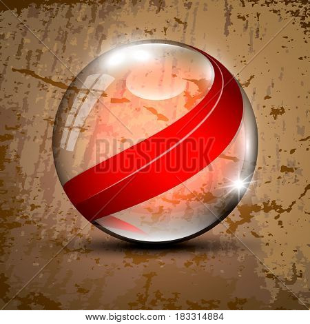 Vector illustration of the clear sphere with red lines inside
