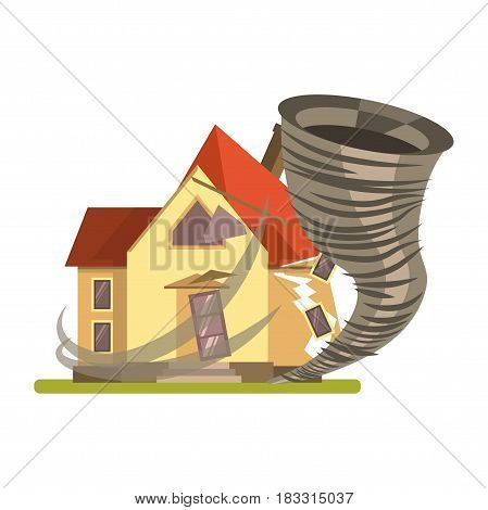 Vector illustration of a storm crashing the residential house isolated on white.