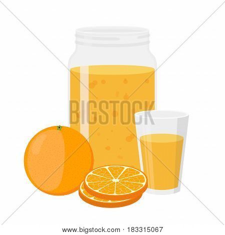 Orange juice, orange and slices. Cartoon flat style. Vegetarian fresh raw food.