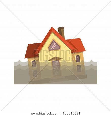 Vector illustration of residential house in the dirty water during the flood.