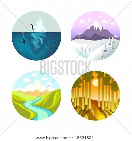 Set of vector illustrations of iceberg, mountain, valley and woods nature.