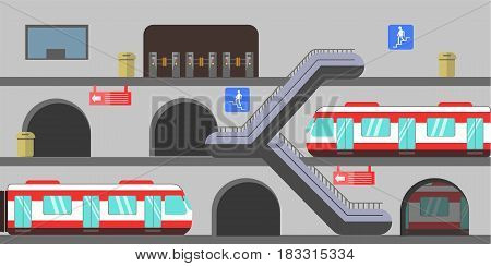 Vector illustration of different levels subway station with trains arriving.