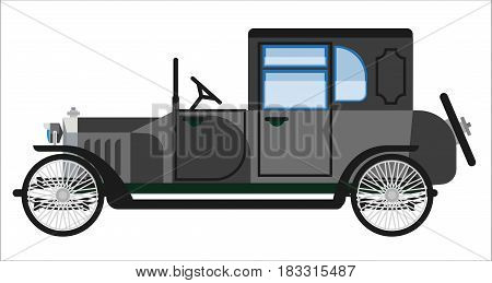 Vector illustration of obsolete gray colored old car isolated on white.