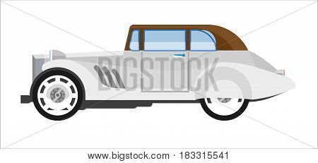 Side view of gray colored classic vehicle isolated on white.
