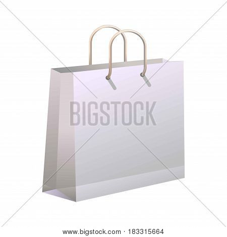 Vector illustration of paper shopping bag on the white background.