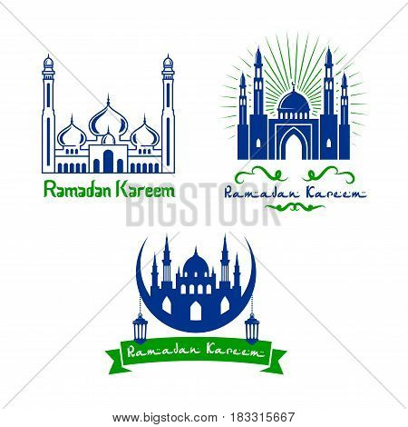 Ramadan Kareem greeting design of mosque and crescent moon, lanterns and ribbons with Arabic ornaments. Calligraphy text for Ramazan Mubarak traditional Islamic or Muslim religious holiday celebration