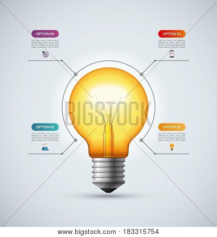Lightbulb infographic template with 4 options. Creative idea concept. Can be used for circular chart, cycle diagram, graph, workflow layout, web design. Vector background