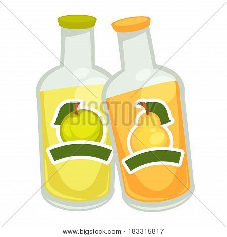 Vector illustration of two soda bottles with apple and pear flavor isolated on white.