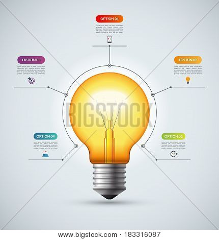 Lightbulb infographic template with 5 options. Creative idea concept. Can be used for circular chart, cycle diagram, graph, workflow layout, web design. Vector background