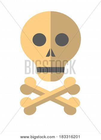 Vector illustration of a skull and crossed bones of skeleton isolated on white.